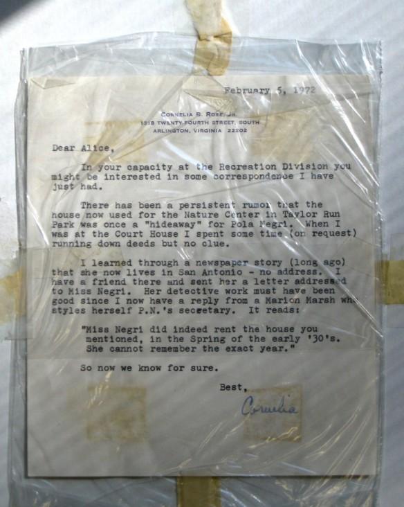 1972 Letter from Cornelia B. Rose