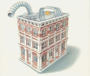 illustration of a gas can that looks like an historic building