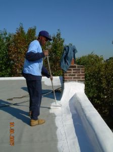 ECA worker applying white coating to roof